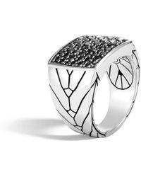 John Hardy - Modern Chain Signet Ring With Black Sapphire - Lyst