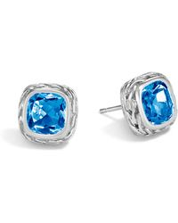 John Hardy - Classic Chain Stud Earring With Blue Topaz - Lyst