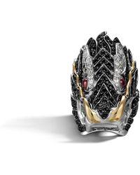 John Hardy - Naga Head Ring, Black Sapphire And White Sapphire - Lyst