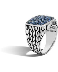 John Hardy - Classic Chain Signet Ring With Blue Sapphire - Lyst