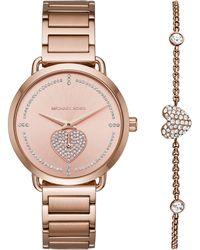 Michael Kors - Mk3827 Women's Portia Bracelet Strap Watch And Heart Chain Bracelet Gift Set - Lyst