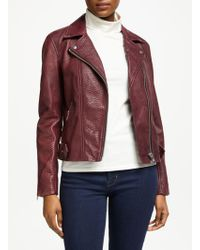Y.A.S - Croc Leather Biker Jacket - Lyst