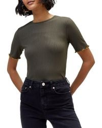 Warehouse - Crinkle Rib T-shirt - Lyst