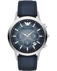 Emporio Armani - Ar2473 Men's Chronograph Degrade Dial Leather Strap Watch - Lyst