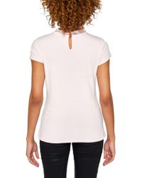 John Lewis - Ted Baker Tuloula Pleated Lace High Neck Top - Lyst