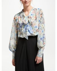 Bruce By Bruce Oldfield - Printed Tie Blouse - Lyst