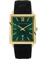 Larsson & Jennings - Nrs40-lblk-cs-q-p-gg Unisex Norse Date Leather Strap Watch - Lyst