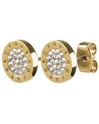 Dyrberg/Kern - Alecia Crystal Logo Round Stud Earrings - Lyst