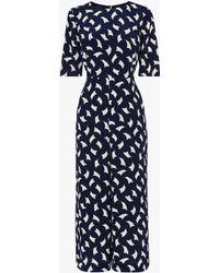 50bc4e8a0b L.K.Bennett Ella Spot Print Silk Jumpsuit in Blue - Lyst
