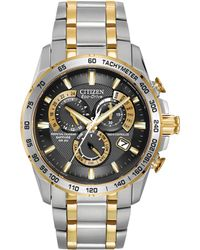 Citizen - At4004-52e Men's Radio Controlled Eco-drive Chronograph Two Tone Bracelet Strap Watch - Lyst