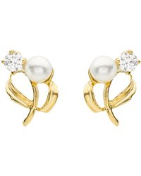 Ib&b - 9ct Yellow Gold Pearl Cubic Zirconia Stud Earrings - Lyst