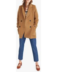 Madewell - Wool Blend Double Breasted Coat - Lyst