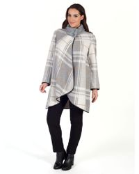 John Lewis - Chesca Check Cable Knit Collar Coat - Lyst