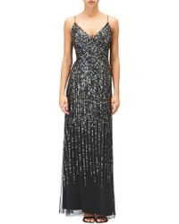 Adrianna Papell - Black Sleeveless Sequin Evening Dress - Lyst