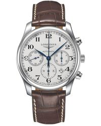 Longines - L27594785 Men's Master Collection Automatic Date Chronograph Alligator Leather Strap Watch - Lyst