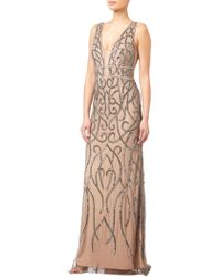 Adrianna Papell - Beaded Chainmail Plunge Gown - Lyst