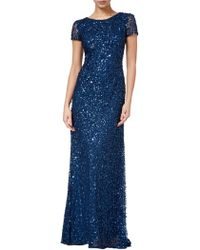 Adrianna Papell - Scoop Back Sequin Evening Dress - Lyst
