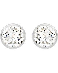 Ib&b - 9ct White Gold Round Cubic Zirconia Stud Earrings - Lyst