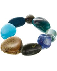 One Button - Mixed Bead Stretch Bracelet - Lyst
