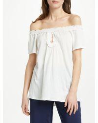Max Studio - Off-shoulder Textured Jersey Top - Lyst