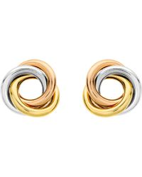 Ib&b - 9ct Three Colour Gold Knot Stud Earrings - Lyst