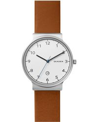 Skagen - Skw6433 Men's Ancher Date Leather Strap - Lyst