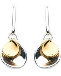 Kit Heath | Double Petal Sterling Silver 18ct Gold Plated Drop Earrings | Lyst