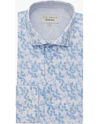 4bc6bbacd Ted Baker Jaknew Long Sleeve Floral Shirt in Blue for Men - Lyst