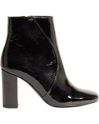 Karen Millen - Patent Block Heel Ankle Boots - Lyst