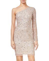 Adrianna Papell - Asymmetric Sequin Dress - Lyst
