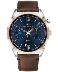 Tommy Hilfiger - 1791549 Men's Deacon Chronograph Day Leather Strap Watch - Lyst