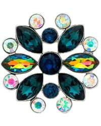 Monet - Ab Navette And Round Cut Glass Crystal Brooch - Lyst