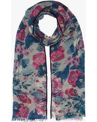 Brora - Rose Print Wool Stole - Lyst