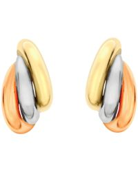 Ib&b - 9ct Gold Three Colour Russian Stud Earrings - Lyst