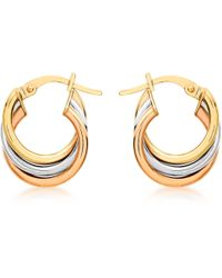 Ib&b - 9ct Gold Three Colour Hoop Earrings - Lyst