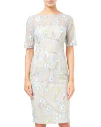 Adrianna Papell - Embroidered Sheath Dress - Lyst