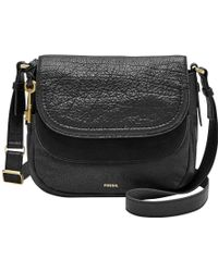 Fossil - Peyton Leather Double Flap Across Body Bag - Lyst