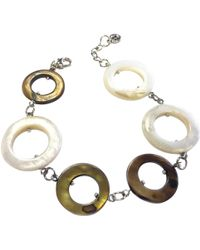 One Button - Mother Of Pearl Circles Long Row Bracelet - Lyst
