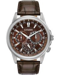 Citizen | Bu2020-29x Men's Eco-drive Chronograph World Time Leather Strap Watch | Lyst