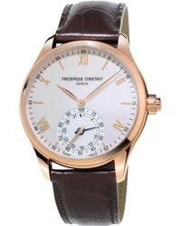 Frederique Constant - Fc-285v5b4 Men's Horological Smartwatch Leather Strap Watch - Lyst