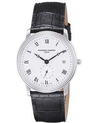 Frederique Constant - Fc-245m4s6 Men's Slim Line Leather Strap Watch - Lyst