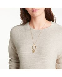 John Lewis - Modern Rarity Hammered Long Hoop And Disc Pendant Necklace - Lyst