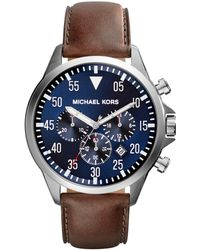 Michael Kors - Mk8362 Men's Gage Chronograph Date Leather Strap Watch - Lyst