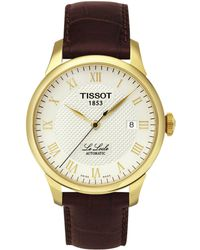 Tissot - T41541373 Men's Le Locle Date Leather Strap Watch - Lyst