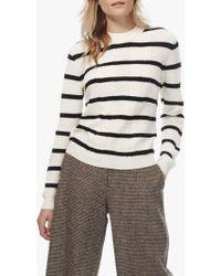 564bc0bf983 Brora - Merino Cable Knit Striped Jumper - Lyst