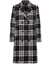 SELECTED - Check Double Breasted Coat - Lyst