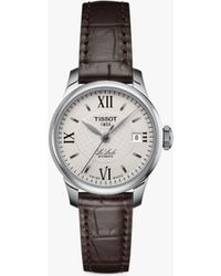 Tissot - T41111377 Women's Le Locle Automatic Date Leather Strap Watch - Lyst
