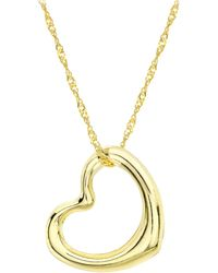 Ib&b | 9ct Yellow Gold Twist Curb Chain Heart Pendant Necklace | Lyst