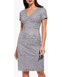 Adrianna Papell - V-neck Beaded Cocktail Dress - Lyst
