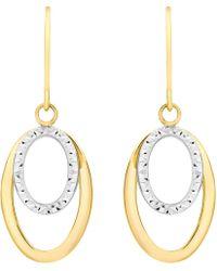 Ib&b | 9ct Gold 2 Tone Double Oval Drop Earrings | Lyst
